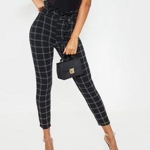 Black tweed paper bag skinny pants